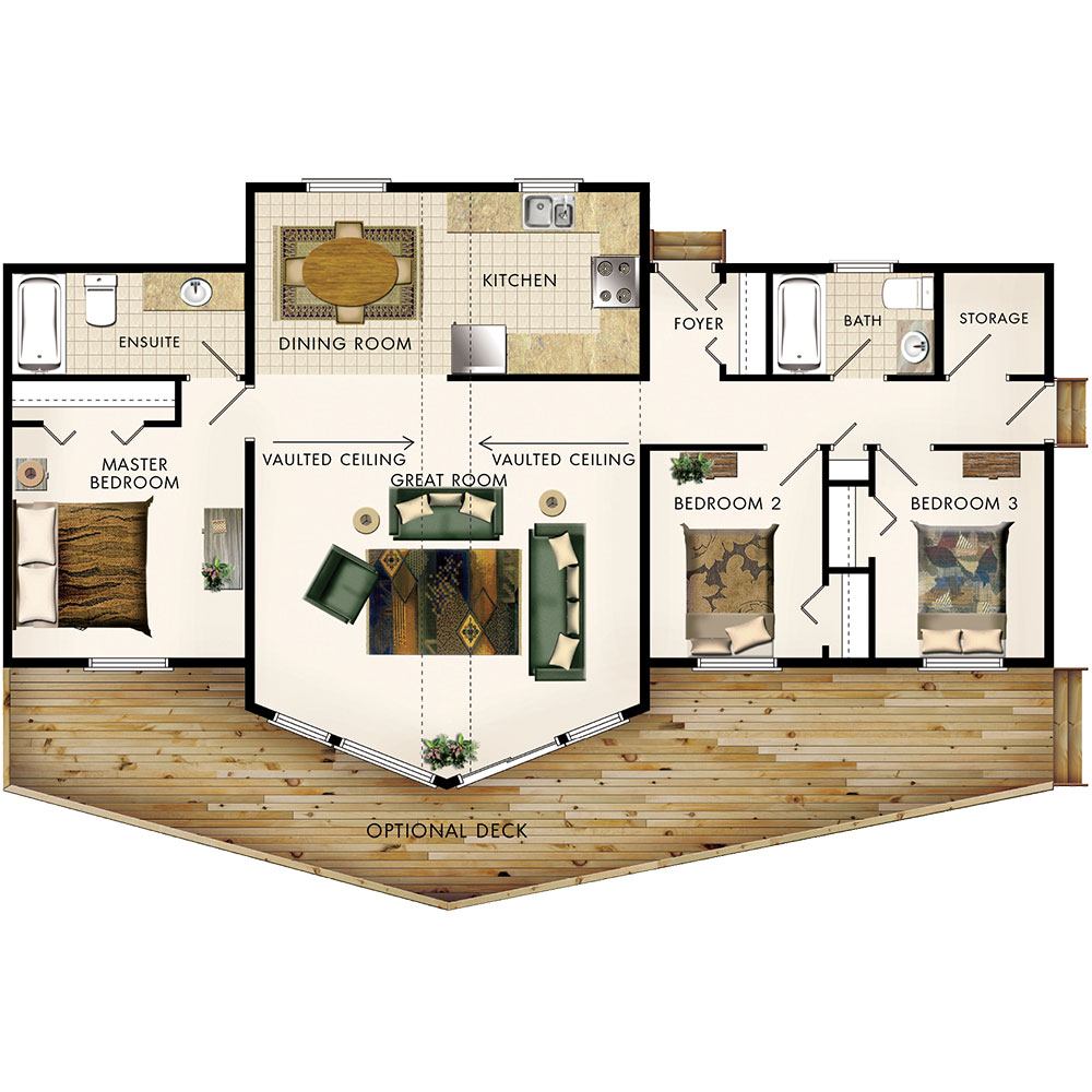 Beaver homes and cottages aurora ii for Plan rooms