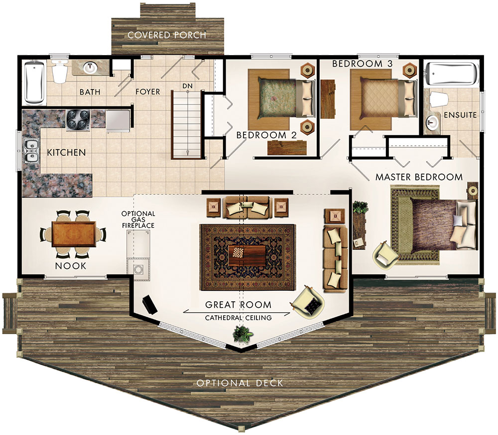 Beaver homes and cottages banff i - Semi basement house plans multifunctional spaces ...